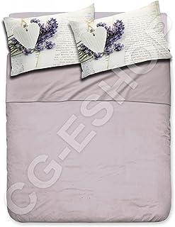 Confezioni.Giuliana Double Complete Bedding Set Double With Pillowcases Digital Print Lavender Grey Written