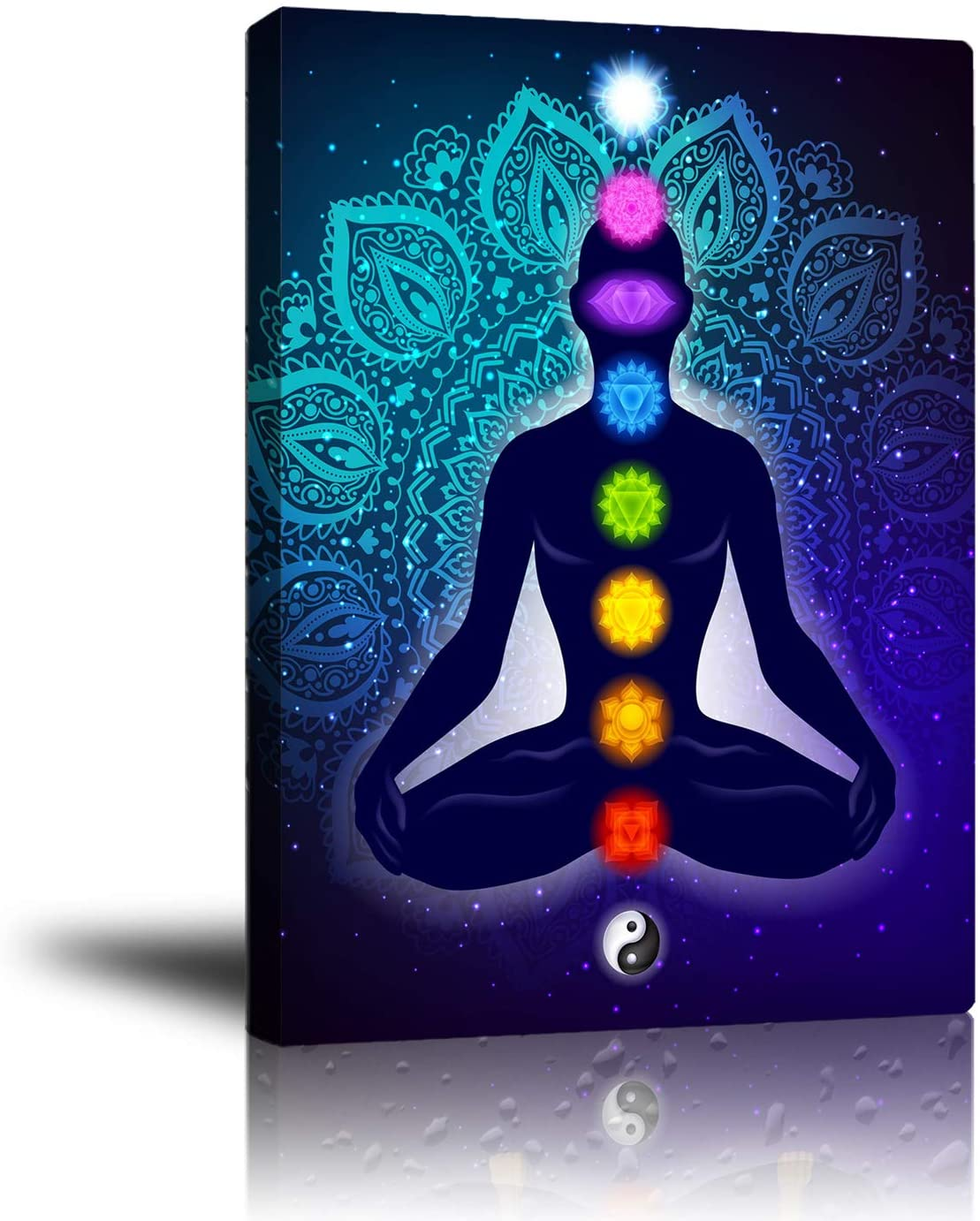 """Indian Seven Chakra Meditation Canvas Wall Art, Prints Colorful Hanging Poster Yoga Studio Room Decor Inner Peace Reiki Wall Art Framed Pictures, Spiritual Healing Gift for Family Friend 16""""x 20"""""""