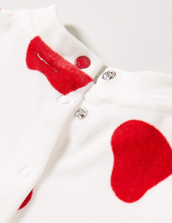 Chicco Tutina Neonato Unisex con Apertura sul patello Caldo Tessuto in ciniglia Colore predominante Bianco con Dettagli Colore Rosso Collezione Autunno Inverno