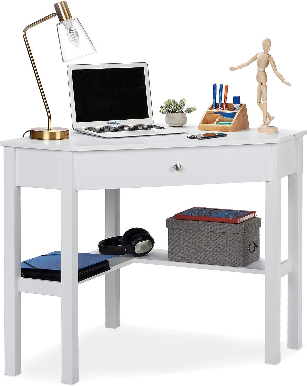 Relaxdays Escritorio, Mesa Esquinera Rinconera, Estudio, Despacho, Oficina, DM, 1 Ud, 76 x 107 x 72 cm, Blanco: Amazon.es: Hogar