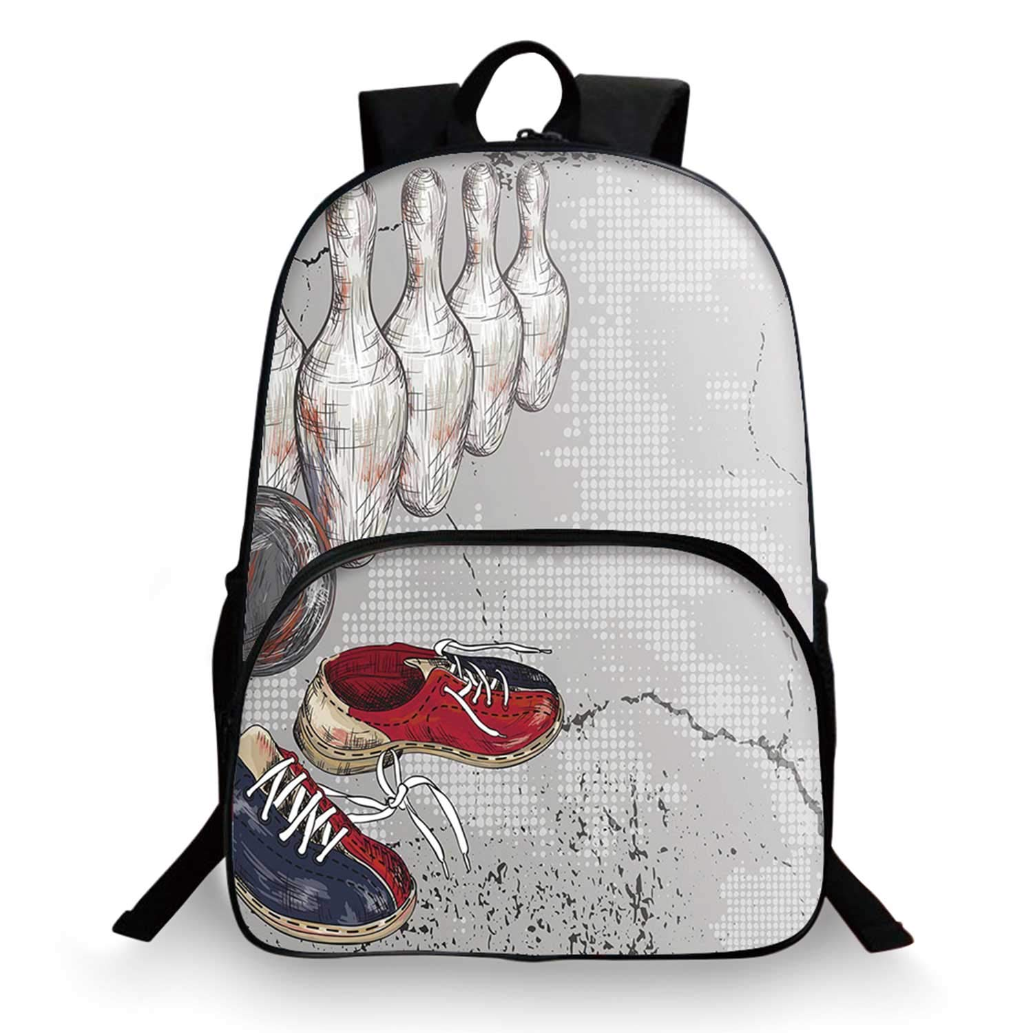 Bowling Party Decorations Various Schoolbag,Bowling Shoes Pins and Ball Artistic Grunge Style Decorative for student,11''Lx6''Wx15''H by C COABALLA