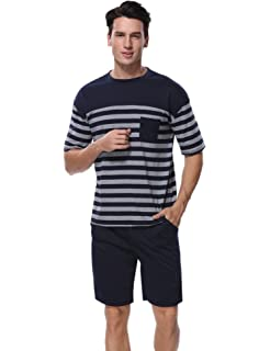 3cf8c0d1923 Aibrou Men s Summer Sleepwear Short Sleeve Striped Cotton Shorts and Top Pajama  Set