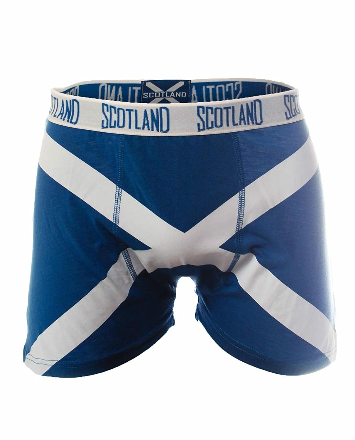 Mens Scottish Boxer Shorts Saltire Design Blue and White with Tags