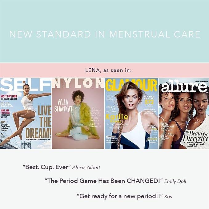 Lena Cup - 2-Pack - Copas Menstruales - Hechas en EE.UU - Diseño Premium Flexible - Usuarios principiantes - Bolsas de algodón gratis - Pequeña & Grande ...