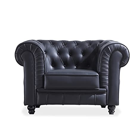 Adec - Chesterfield, Sofa Individual de una Plaza, Sillon Descanso una 1 Persona, butaca Acabado en simil Piel Color Negro, Medidas: 115 cm (Largo) x ...