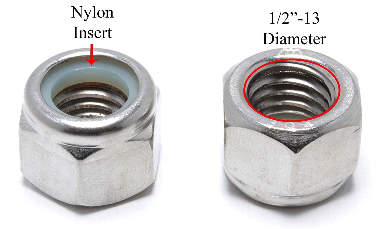 Stainless Steel Lock Nuts #4-40 Stainless Hex Lock Nut 304 100 Pack 18-8 by Bolt Dropper