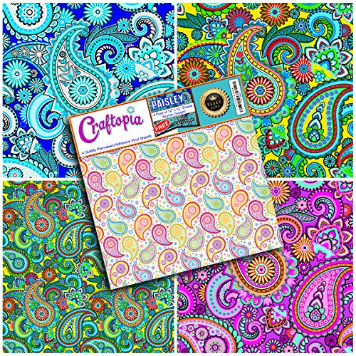 Craftopia's Paisley Pattern Self Adhesive Craft Vinyl Sheets | 4+1 Assorted Vinyl (Christmas Glitter T-shirt)