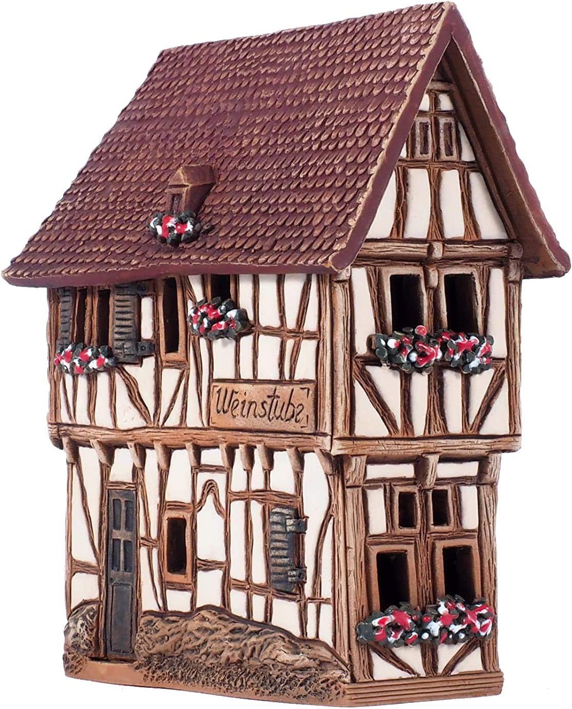 Unique Handmade Ceramic Cone Incense Burner and Incense Cone Holder for Any Room Decor. This Incense Holder is The 4.72 Inches Height Miniature Copy of The Existing Historic House in Bernkastel-Kues