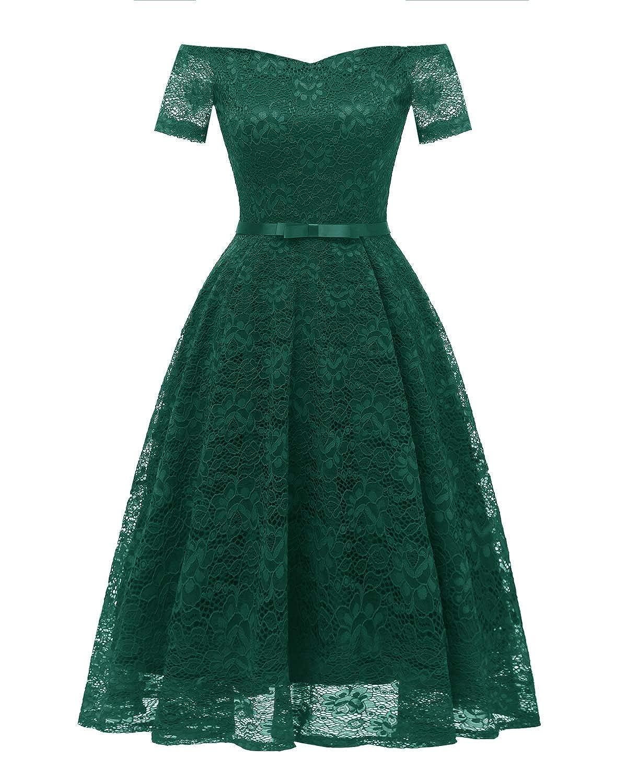 Green Zooka Vintage Lace Crochet Party Dresses Women Off Shoulder Formal Elegant Patchwork