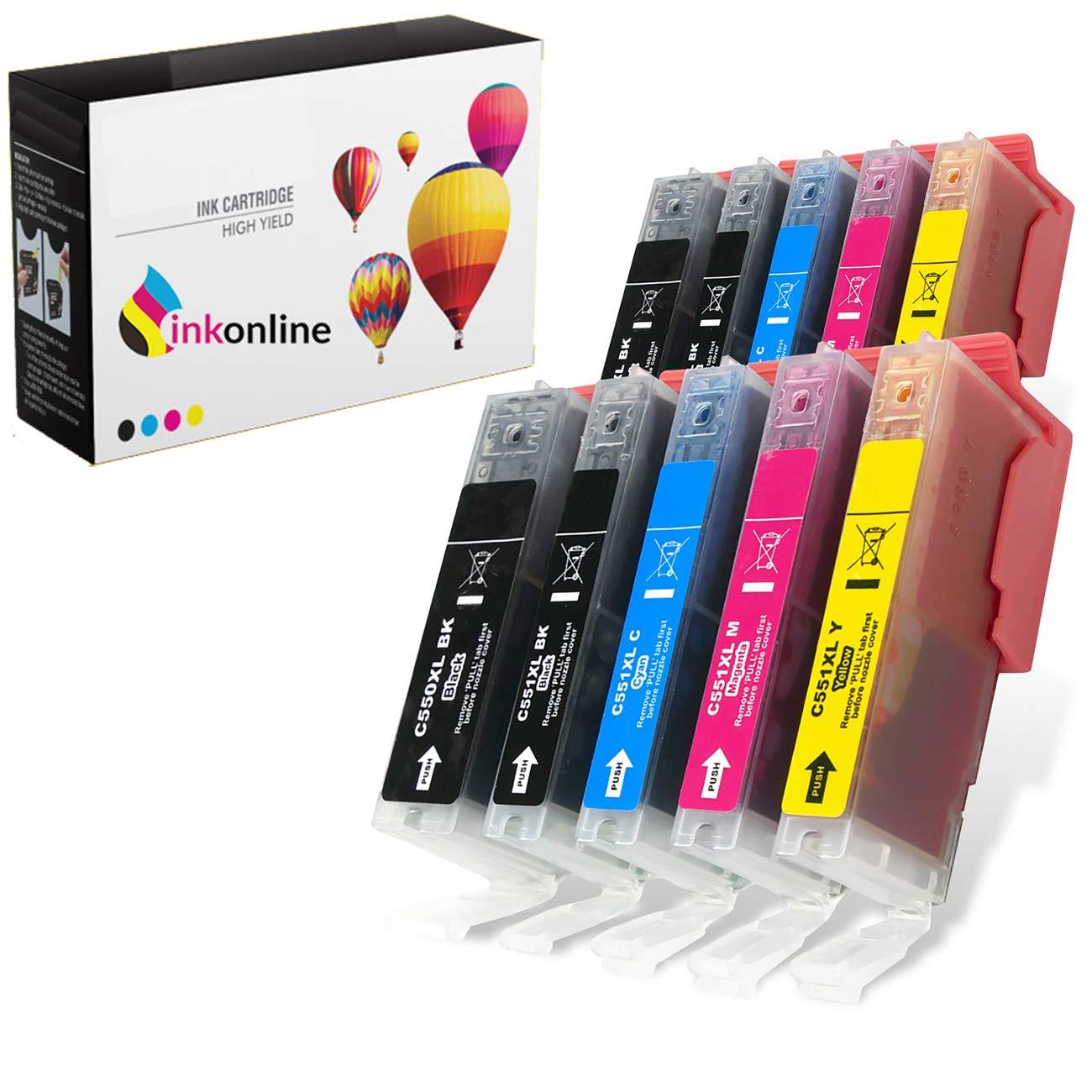 10 cartuchos de tinta XL CLI-551XL / PGI-550XL para impresoras ...
