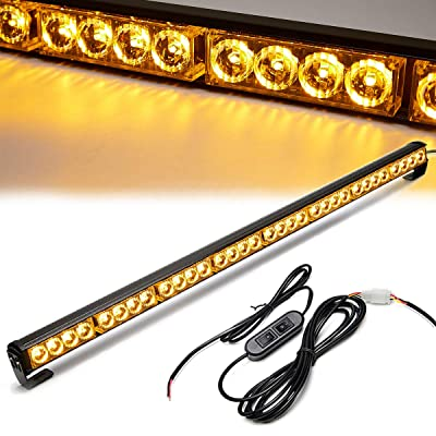 Led Strobe Lights 36 Inch Yellow Flashing Safety Warning Emergency Strobe Light Bar Caution Directional Police Car Vehicle Pickup Truck Rear Window Traffic Advisor (35.5 IN, Yellow/Amber): Automotive