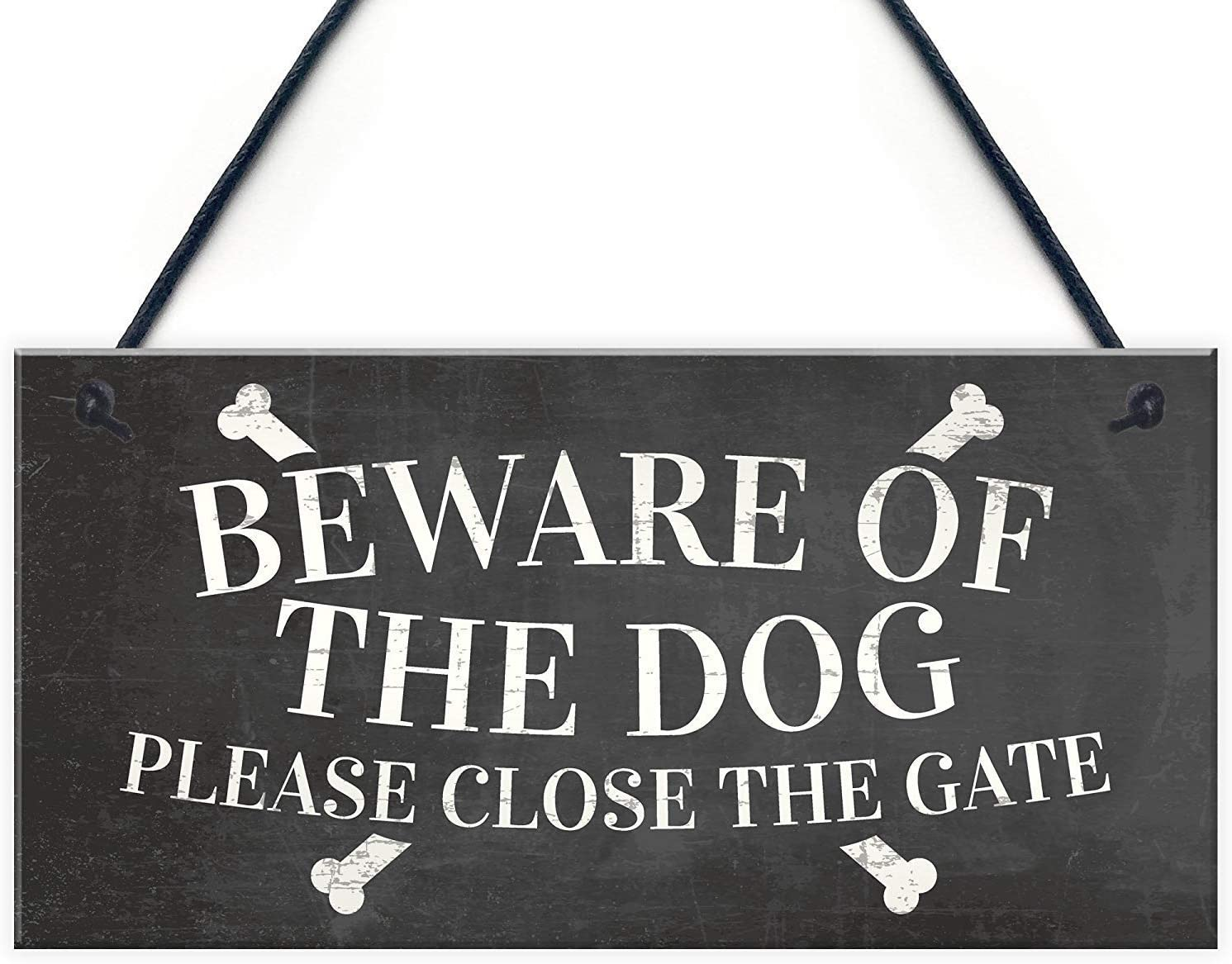 """Aianhe Beware of The Dog Please Close The Gate Warning Sign Garden Gate House Door Hanging Outdoor Plaque Gift 10"""" X 5"""""""