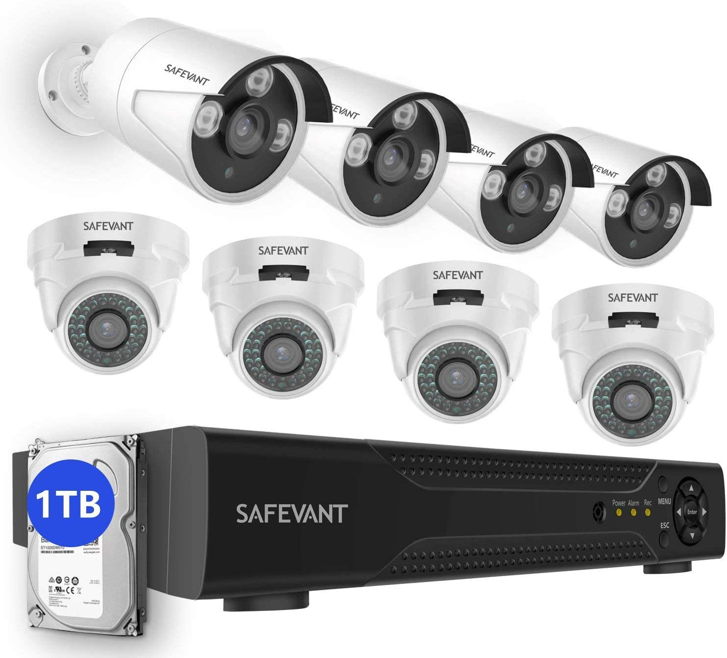 2020 New Security Camera System with 1TB Hard Drive,SAFEVANT 5-in-1 HD DVR Systems Indoor Outdoor Home CCTV Dome Bullet Cameras with Night Vision Motion Detection