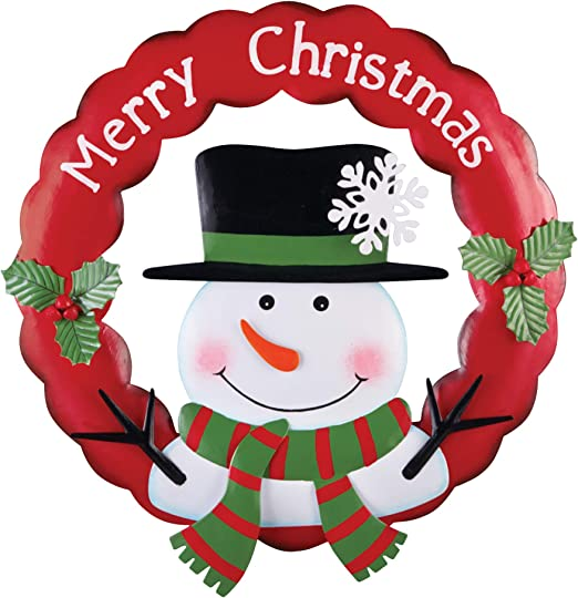 Amazon Com Collections Etc Hand Painted Festive Merry Christmas Snowman Wreath Home Kitchen