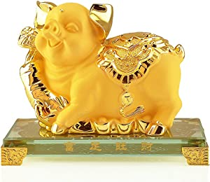 BOYULL Chinese Zodiac Pig Golden Resin Collectible Figurines Table Decor Statue