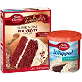Betty Crocker Super Moist Red Velvet Cake Mix with Whipped Cream Cheese Frosting Bundle