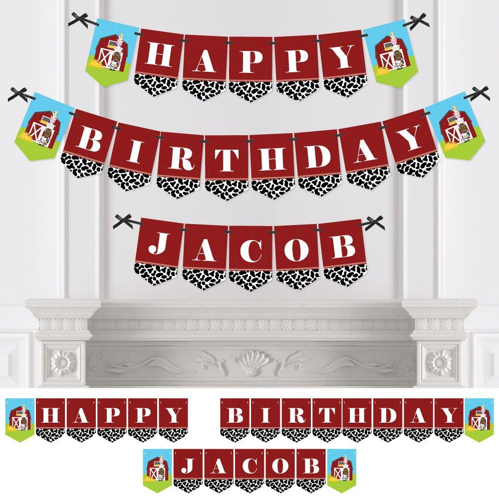 Custom Farm Animals - Personalized Birthday Party Bunting Banner & Decorations - Happy Birthday Custom Name Banner