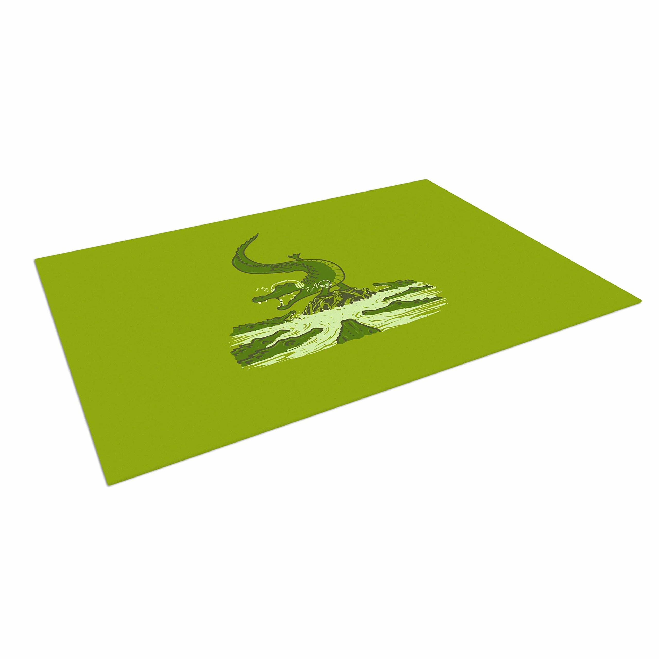 KESS InHouse BarmalisiRTB ''Breakdance Crocodile'' Green Beige Outdoor Floor Mat, 4' x 5'