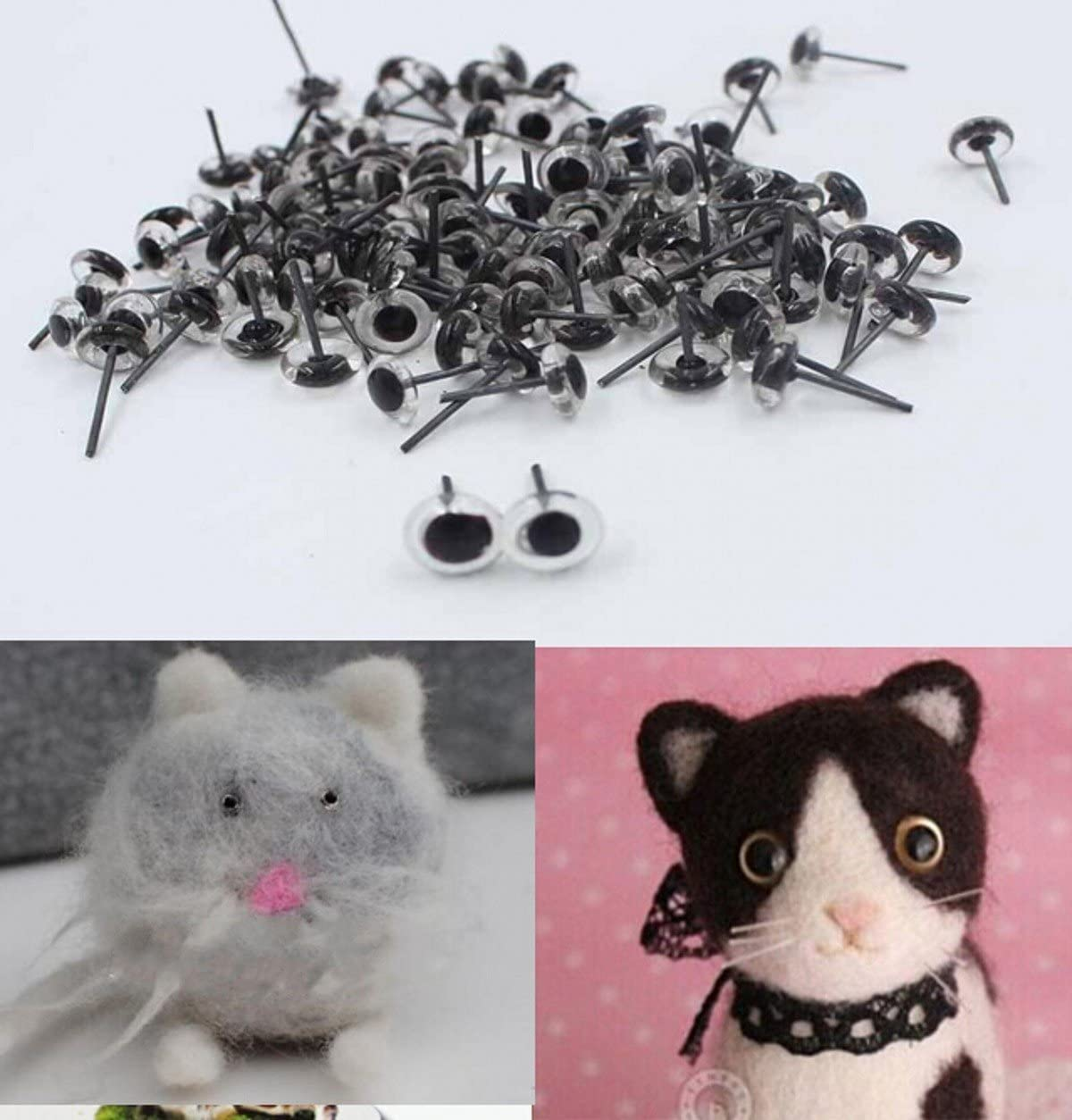 200pairs 5mm Mini Clear Glass Eyes on Wire Amber Toy Teddy Eyes Puppets Dolls Needle Felting Crafts CHENGYIDA 400pcs