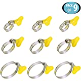 HOKIPO® Adjustable Stainless Steel Hose Clamp Set, Pack of 9 (0.5 Inch,0.75 inch & 1.25 inch)