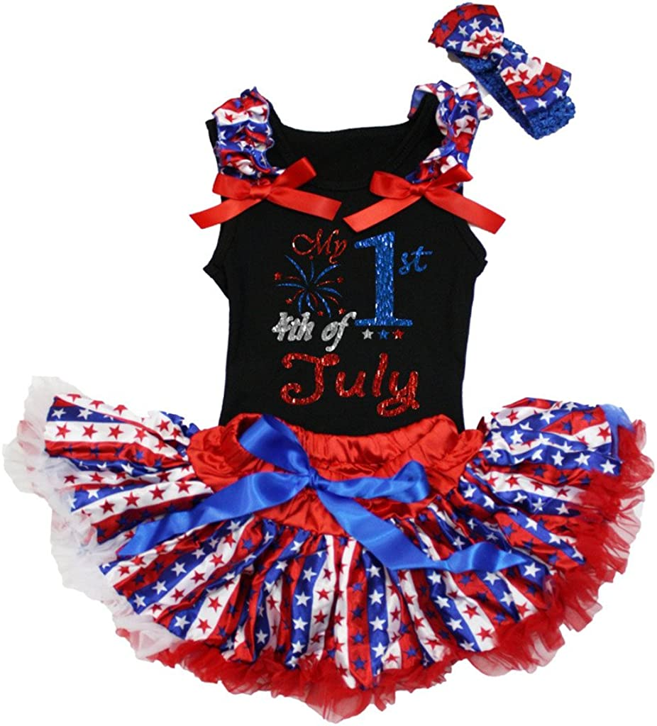 Petitebella 4th July Outfit Black Shirt RWB Stripes Stars Baby Skirt Set 3-12m