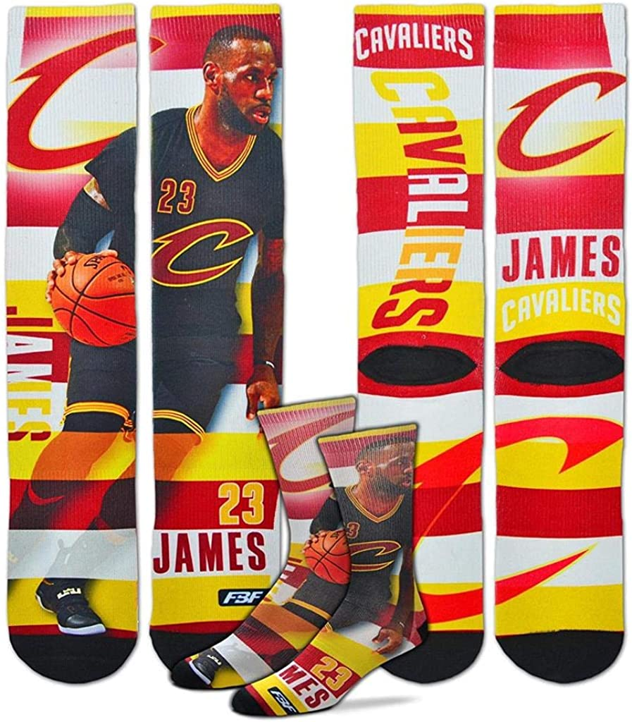 Lebron James #232 4-8 YRS For Bare Feet Cleveland Cavaliers Youth Size Pro Stripe NBA Crew Kids Socks 1 Pair