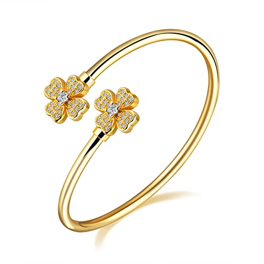 Fate Love Gold/Platinum Plated Wide Opening Adjustable Cuff Bangle Twisted Bracelets for Women, 6.69