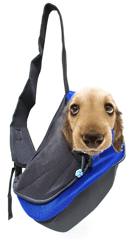 """Royal Brands Pet Sling Carrier Comfort Travel Tote Shoulder Bag Cat Hands Free Pet Carrier Travelling Pet Holder Bag Walking Cycling Biking Hiking Animal Pet Transporter (17.5"""" x 11.5"""" x 5"""", Blue)"""
