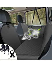 Dog Car Seat Cover Luxury Pet Seat Cover with Mesh Window, Side Flap, 4 Straps, 600D Heavy Duty Waterproof Scratch Proof Nonslip Pet Seat Cover Hammock for Cars SUVs and Trucks … (Black)