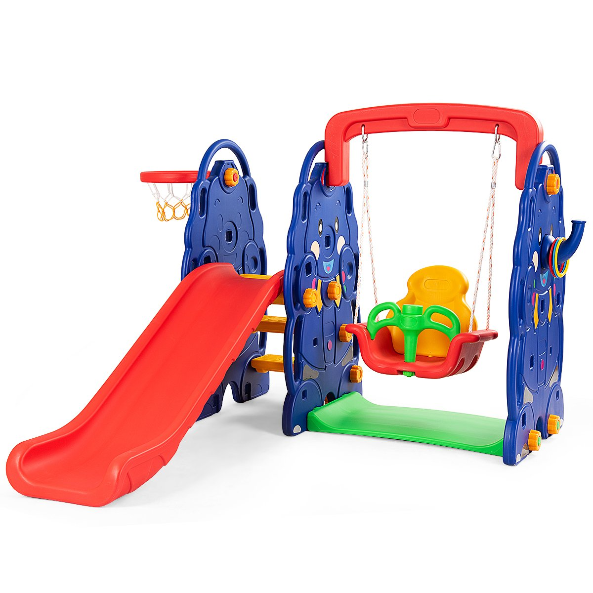 HONEY JOY Toddler Climber and Swing Set, 4-in-1 Indoors & Outdoors Playset with Junior Basketball Hoop , Ring Toss Game by HONEY JOY