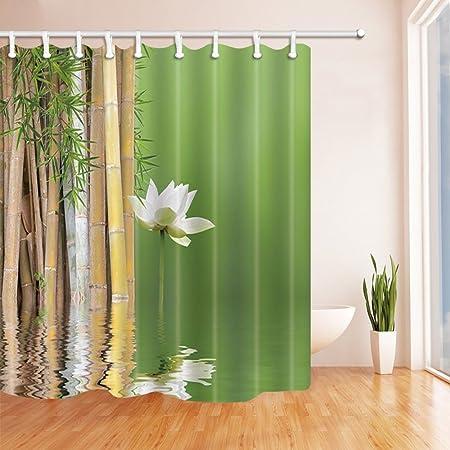 EdCott Decoración de temática Zen Garden £ ¬ Cortina de Ducha de bambú Lotus Side Moho Tejido de poliéster Resistente Decoraciones para el baño Cortinas de baño Ganchos Incluidos 71X71 Pulgadas: Amazon.es: