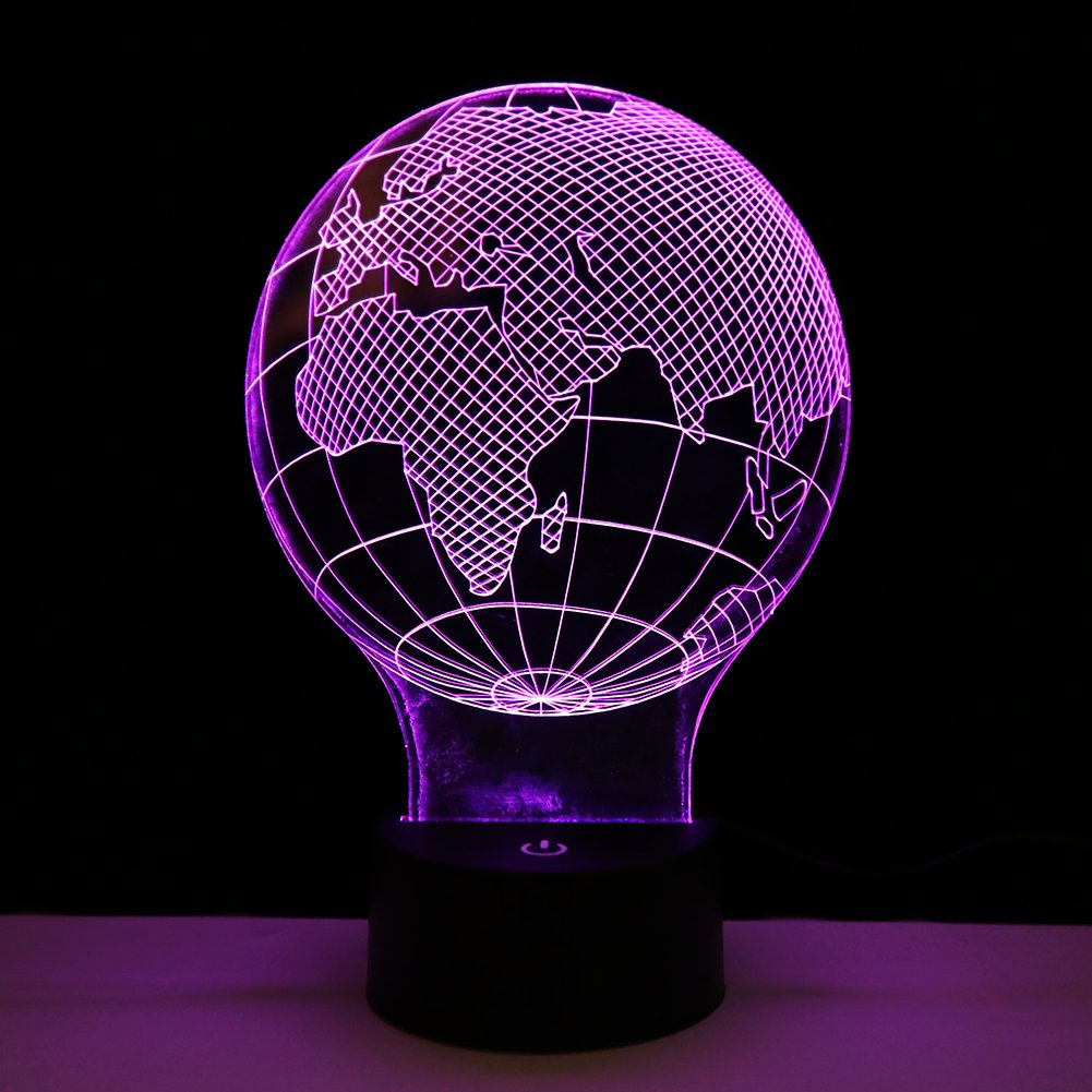 3D Globe Shape LED Night Light, Creative Touch Sensor Control 7 Color Changing Dimmable Lamp, Rechargeable Battery Operated Cordless Table Desk Decorative Lamp For Bedroom