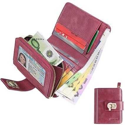 WACCET Carteras Piel Mujer Bloqueo RFID Monedero de Piel con Cremallera, Billetera de Mujer con 12 Tarjetas, Cartera de Cuero de Mujer Pequeño ...