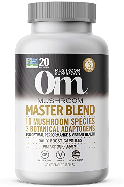 Om Master Blend Capsules, 10 Mushroom Complex, Reishi Extract & Adaptogens, Vibrant Health, Immune Mushroom Supplement, Vegan, 80 Count (20 Day Supply)