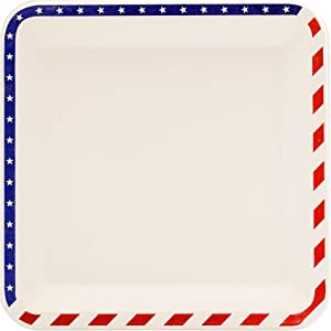 9.5-inch American Flag Patriotic Compostable Disposable Square Paper Plates, Made from Eco-friendly Plant Fibers [50 COUNT]