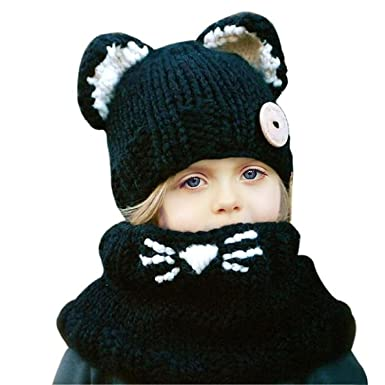 3759a05bc3c Jenny Shop Winter Kids Warm Fox Animal Hats Knitted Coif Hood Scarf Beanies  for Autumn Winter
