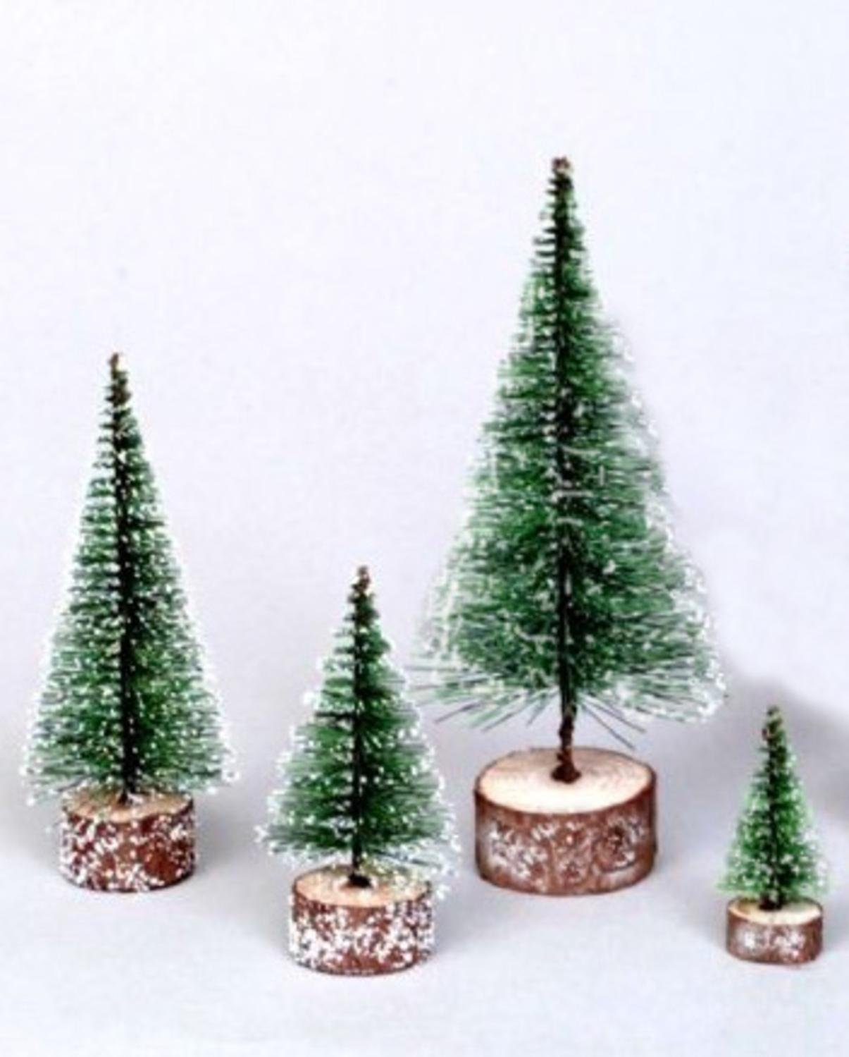 NorthLight 3 in. Green Frosted Artificial Village Christmas Trees - Unlit Vickerman