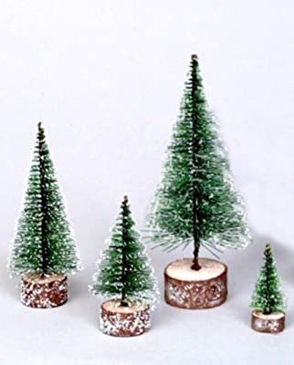 """By Vickerman 3"""" Green Frosted Artificial Village Christmas Tree - Unlit"""