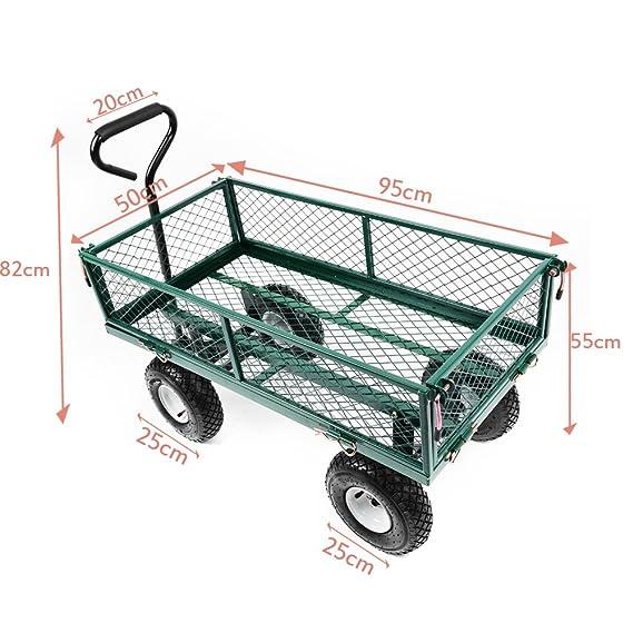 Panadeco - (100*50*14cm) Carro de Mano para Campo Pueblo Jardín Gran Superficie para la Carga más de 100 KG: Amazon.es: Jardín