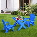 Costzon Kids Plastic Table and 2 Chairs
