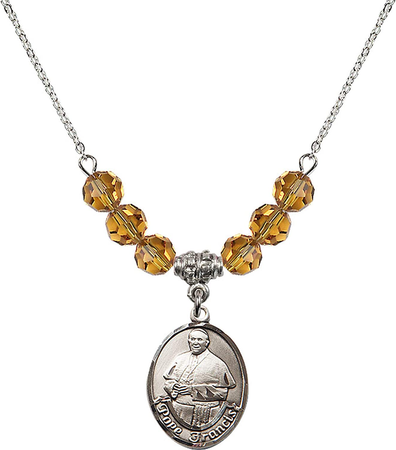 Bonyak Jewelry 18 Inch Rhodium Plated Necklace w// 6mm Yellow November Birth Month Stone Beads and Pope Francis Charm