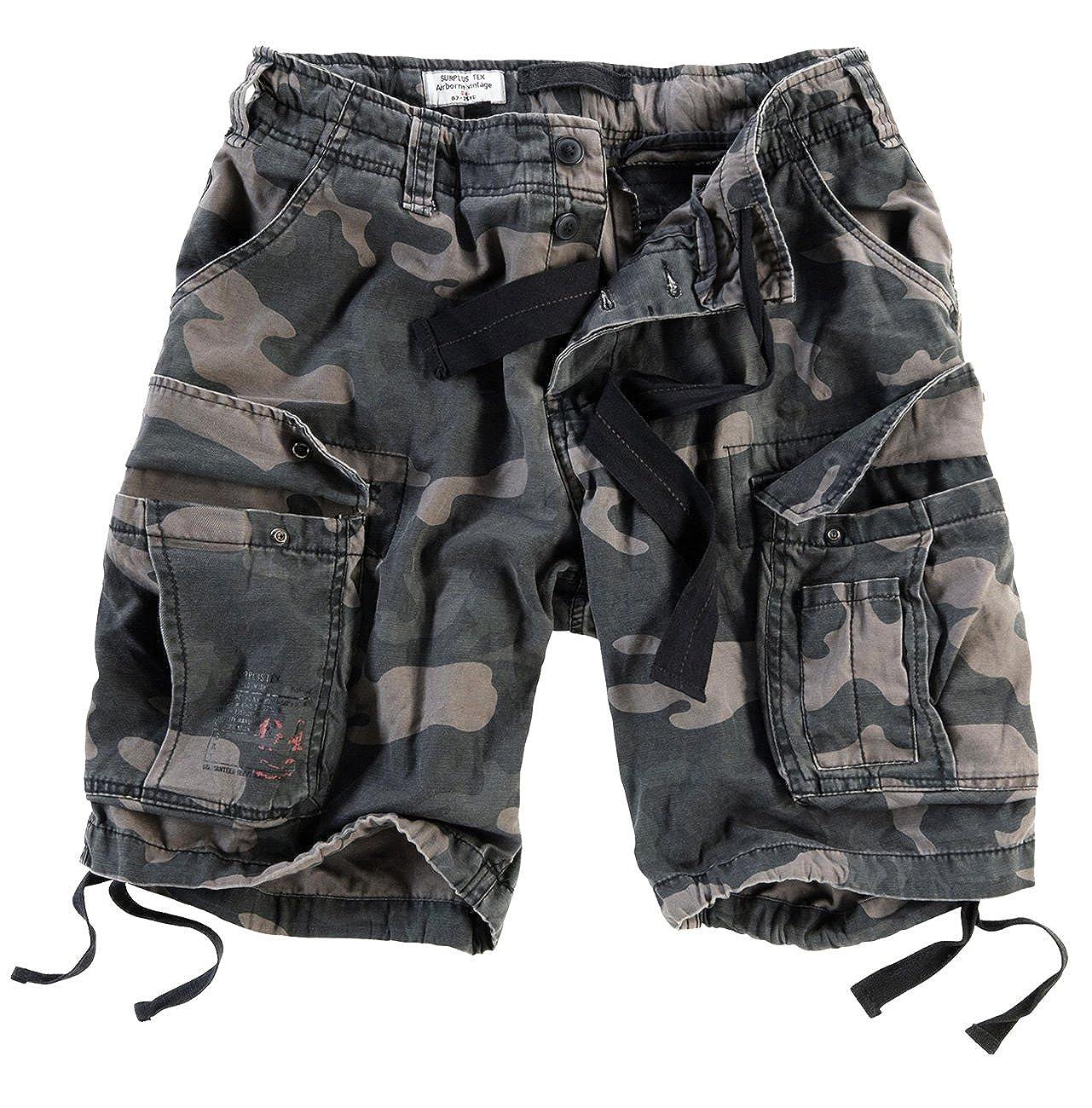 Surplus Men's Airborne Vintage Shorts Washed Black Camo