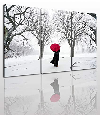 Black White And Red Canvas Wall Art Painting Modern Design Picture For Home Office Decor 3 Pieces Snow Winter Landscape Framed On Wooden Frame Image