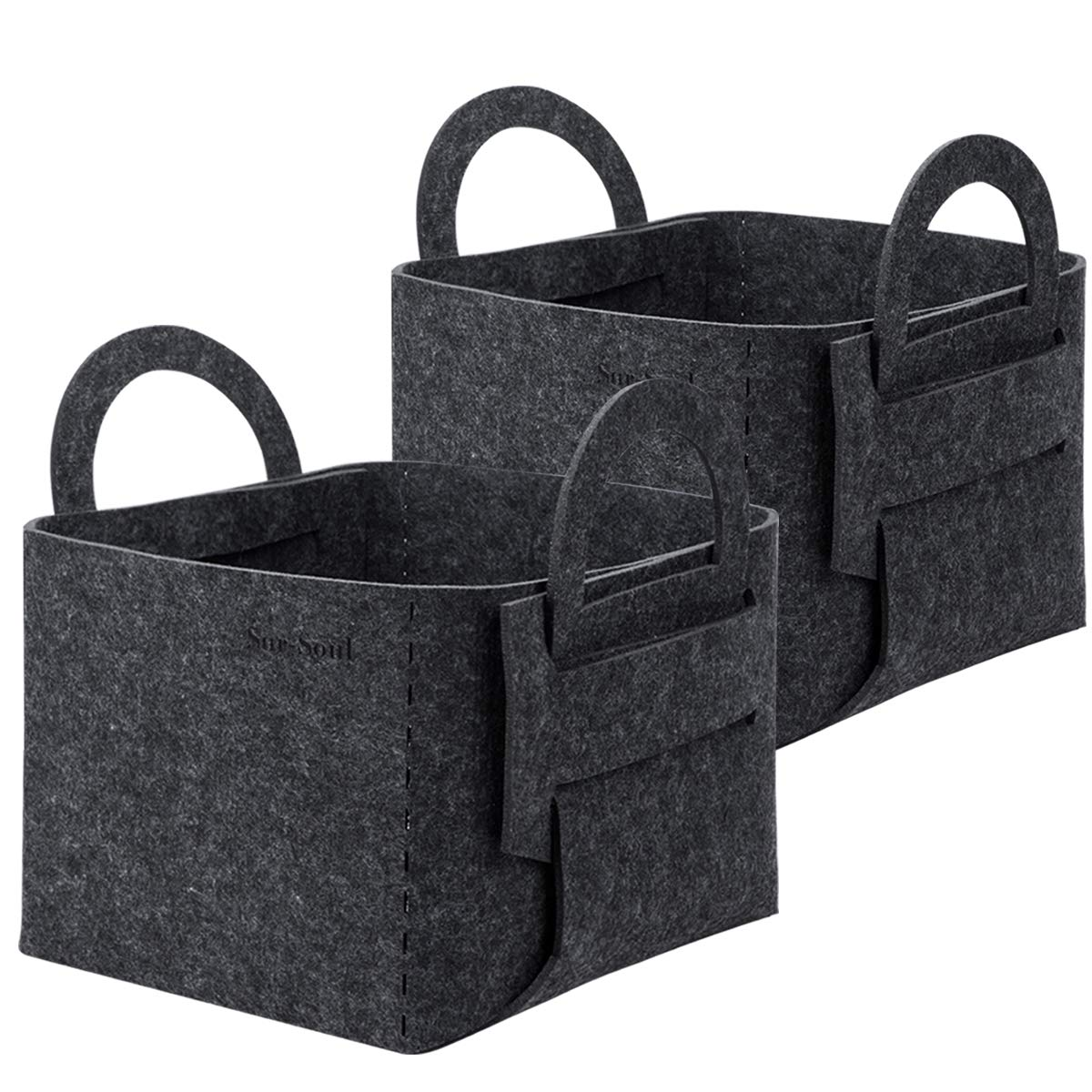 SurSoul Storage Baskets, Felt Storage Bins for Clothes, Toys, Books, Collapsible Laundry Baskets with Handle, Storage Solution for Office, Bedroom, Shelf, Closet,2 Pack by SurSoul