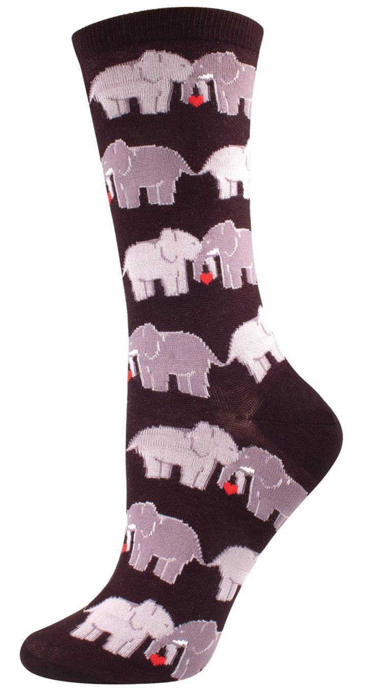 Socksmith Elephant Love Socks Black Size 9-11, 1 EA
