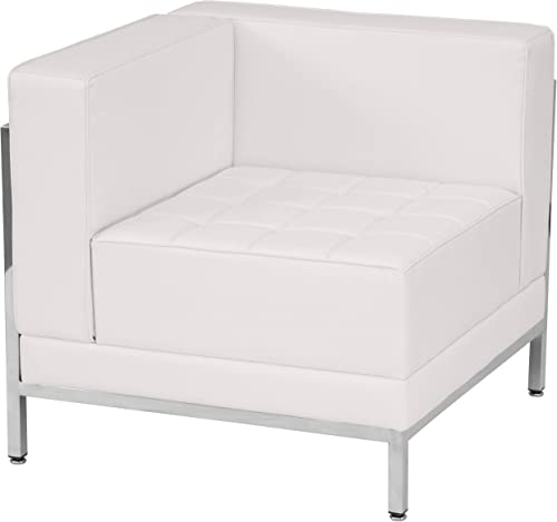 Flash Furniture HERCULES Imagination Series Contemporary White LeatherSoft Left Corner Chair