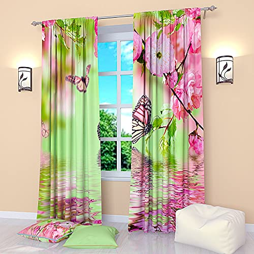 Factory4me Butterfly Window cutrains Butterfly on Water. Window Curtain Set of 2 Panels Each W52 x L96 Total W104 x L96 inches Drape