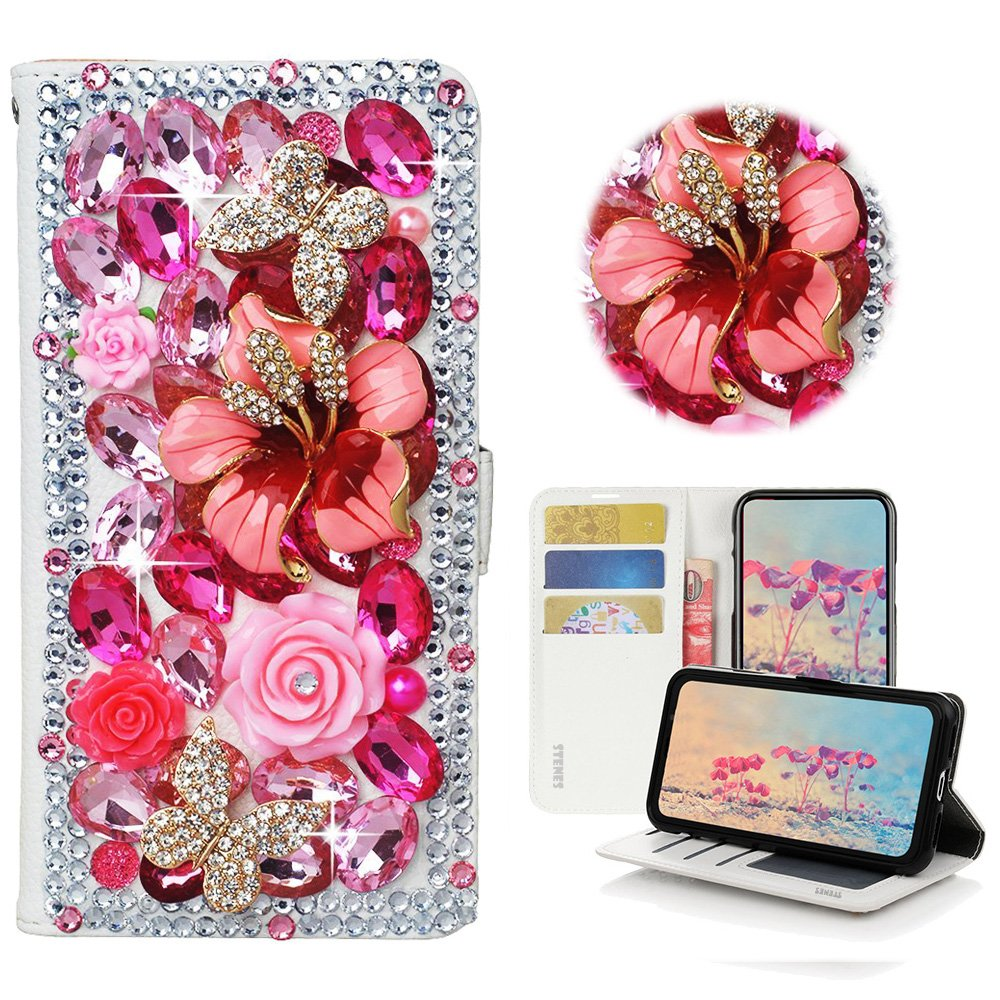 STENES Moto G6 Play Case - Stylish - 3D Handmade Crystal Rose Flowers Floral Butterfly Wallet Credit Card Slots Fold Stand Leather Cover Case for Moto G6 Play - Hot Pink
