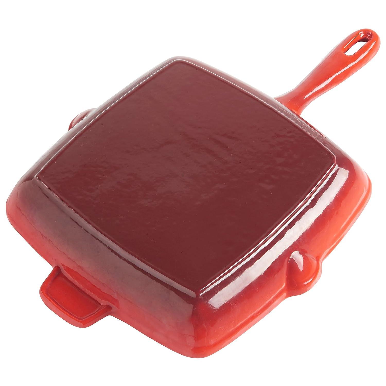VonShef 26 cm - Sartén parrilla rectangular de hierro fundido - Apto para todos los tipos de cocina inclusive Inducción.: Amazon.es: Hogar