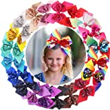 20PCS Sequin Hair Bows 6Inch Large Big Glitter Sparkly Reversible Sequin Bows Rainbow Hair Bows Alligator Hair Clips…